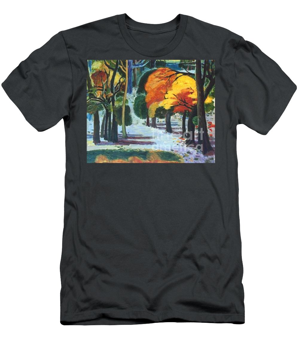 Colors Men's T-Shirt (Athletic Fit) featuring the painting Colors Of Fall by Meihua Lu