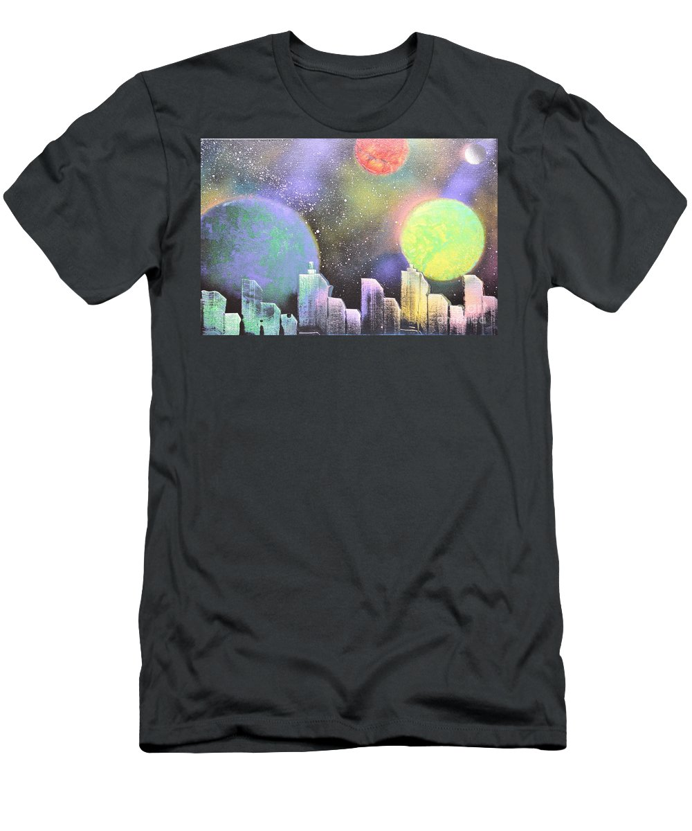 Planets Men's T-Shirt (Athletic Fit) featuring the painting Colors Of The City by Zack Anderson