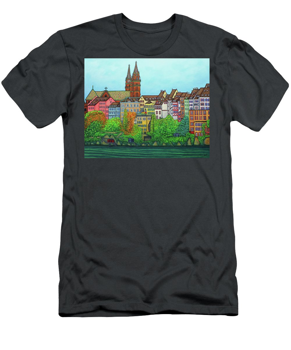 Lisa Lorenz T-Shirt featuring the painting Basel, Colours of Basel by Lisa Lorenz