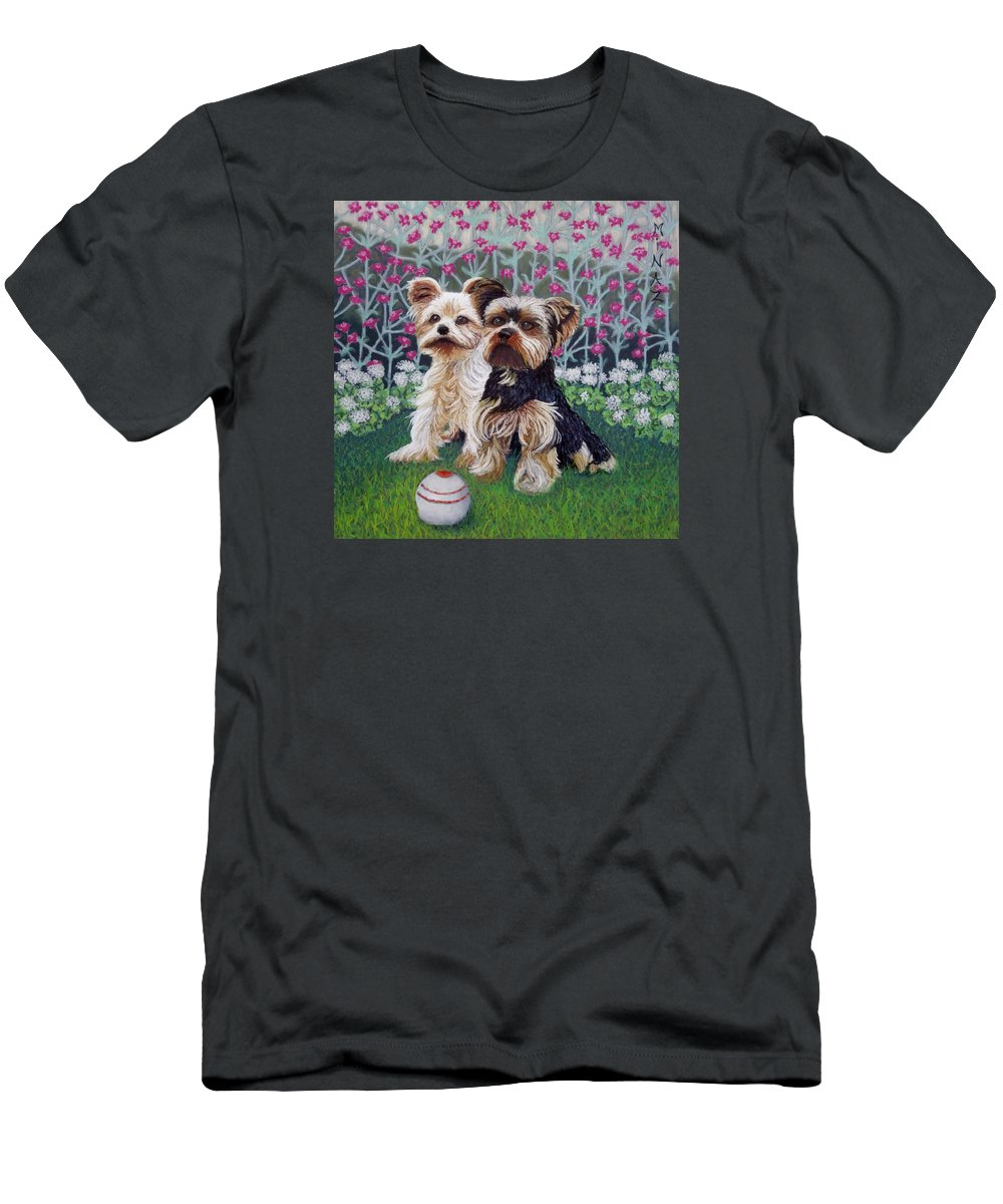 Dogs Men's T-Shirt (Athletic Fit) featuring the painting Come Play With Me by Minaz Jantz