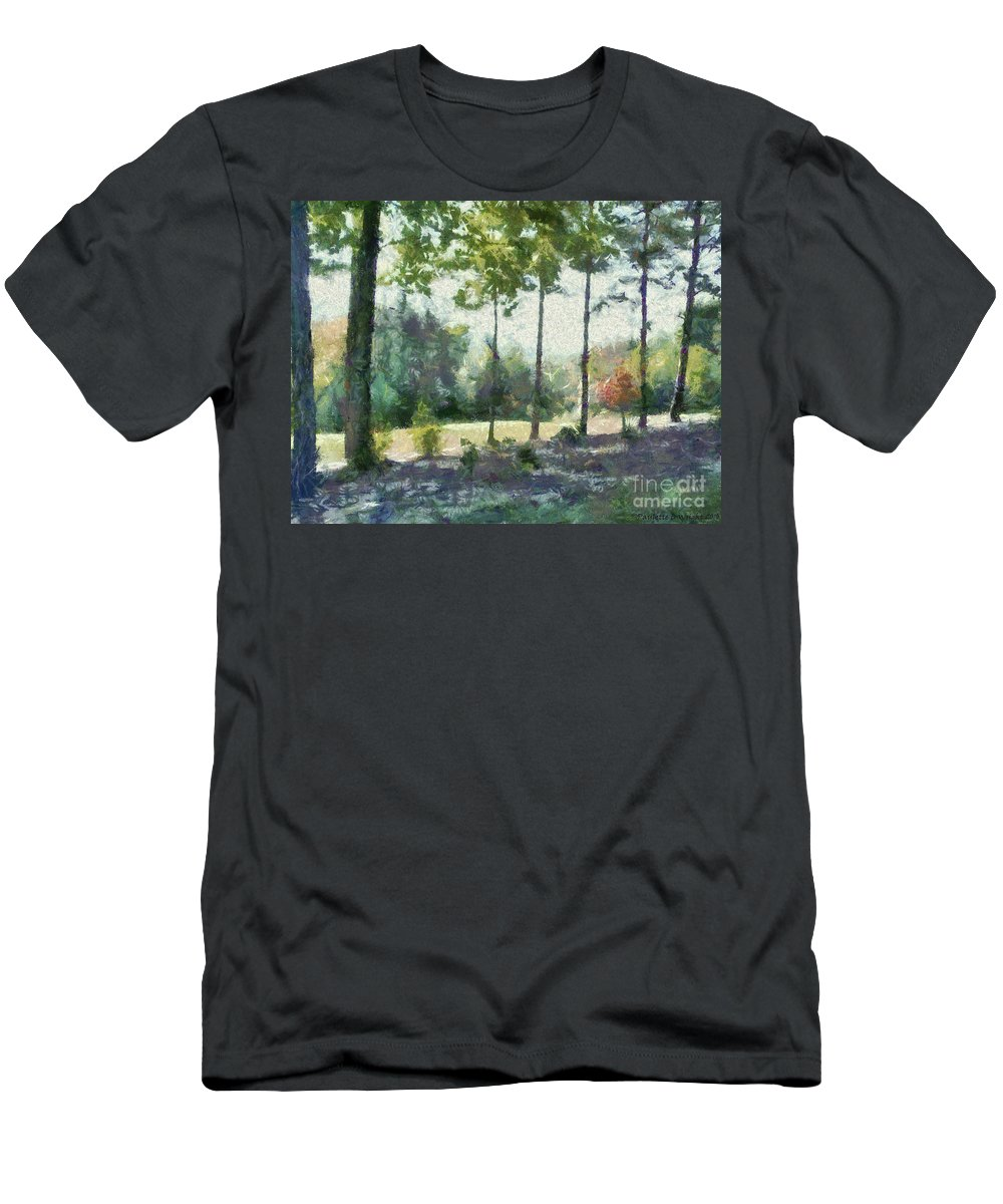 Homestead Men's T-Shirt (Athletic Fit) featuring the painting Coming Out Of The Woods by Paulette B Wright