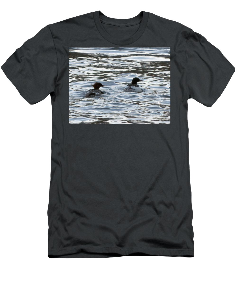 Merganzer Men's T-Shirt (Athletic Fit) featuring the photograph Common Merganzer Pair by Cindy Murphy - NightVisions