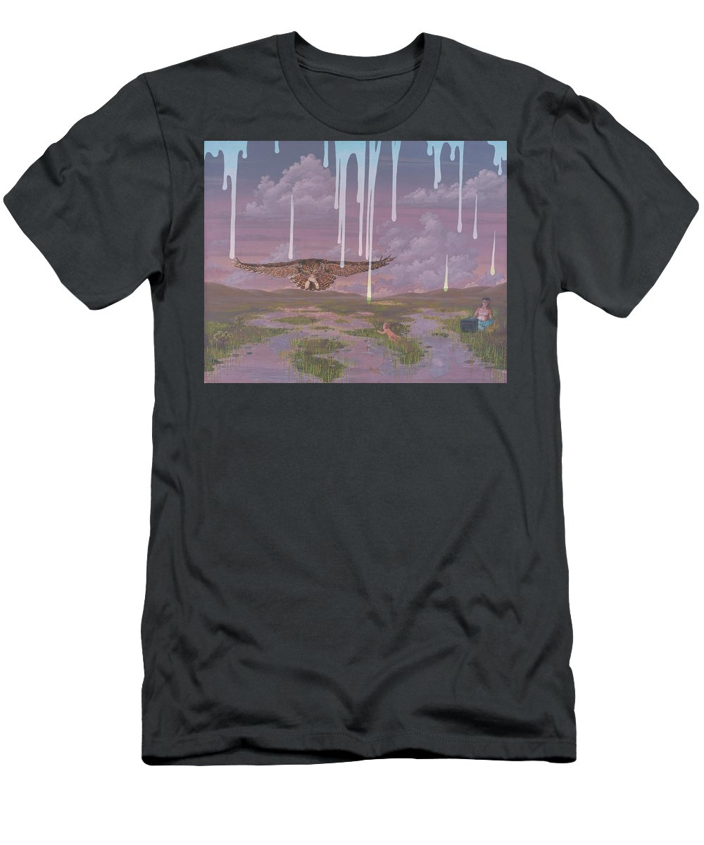 Surrealism Landscape Men's T-Shirt (Athletic Fit) featuring the painting Complacency by Jon Carroll Otterson