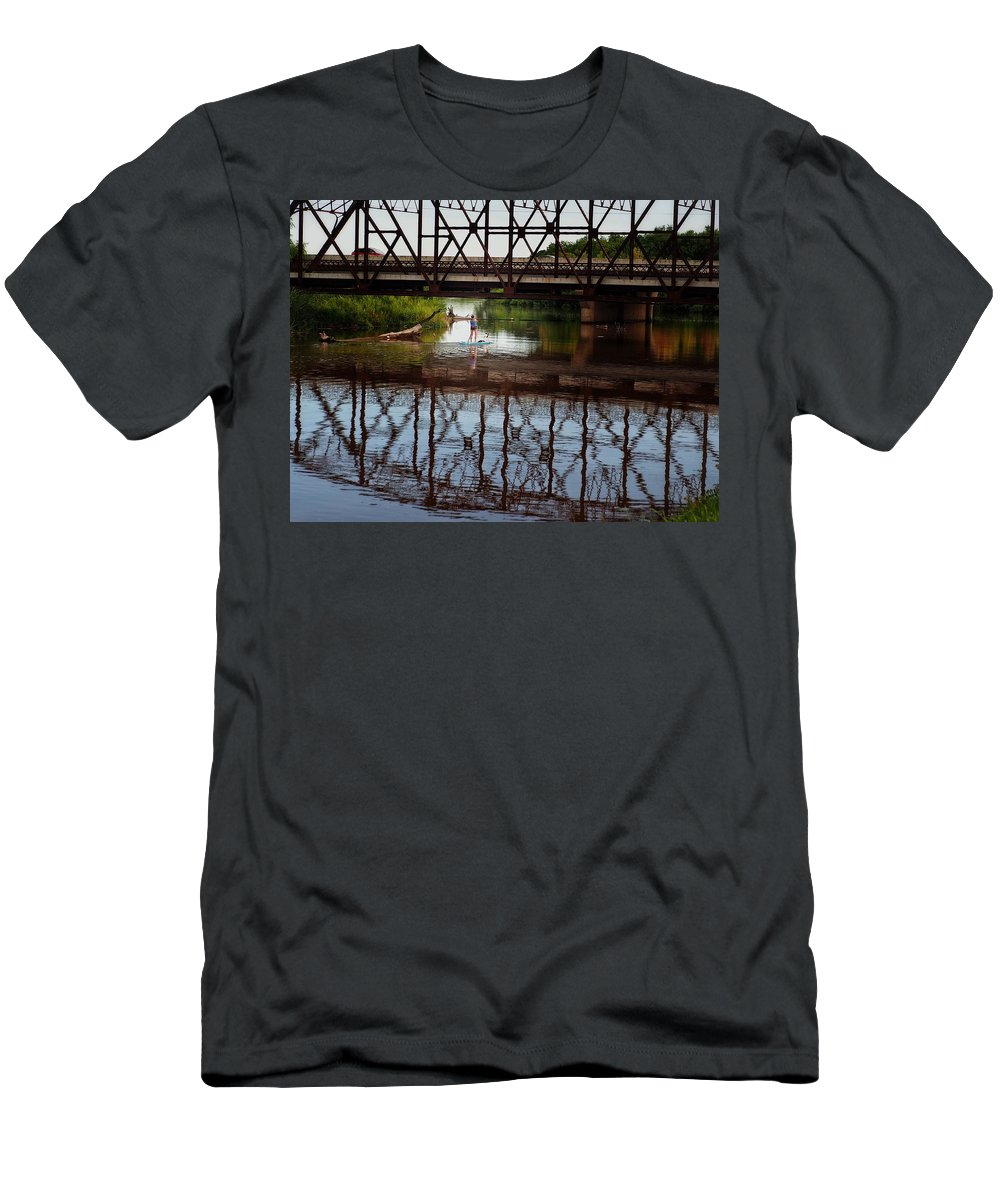 Lake Overholser Men's T-Shirt (Athletic Fit) featuring the photograph Complex Reflections by Buck Buchanan