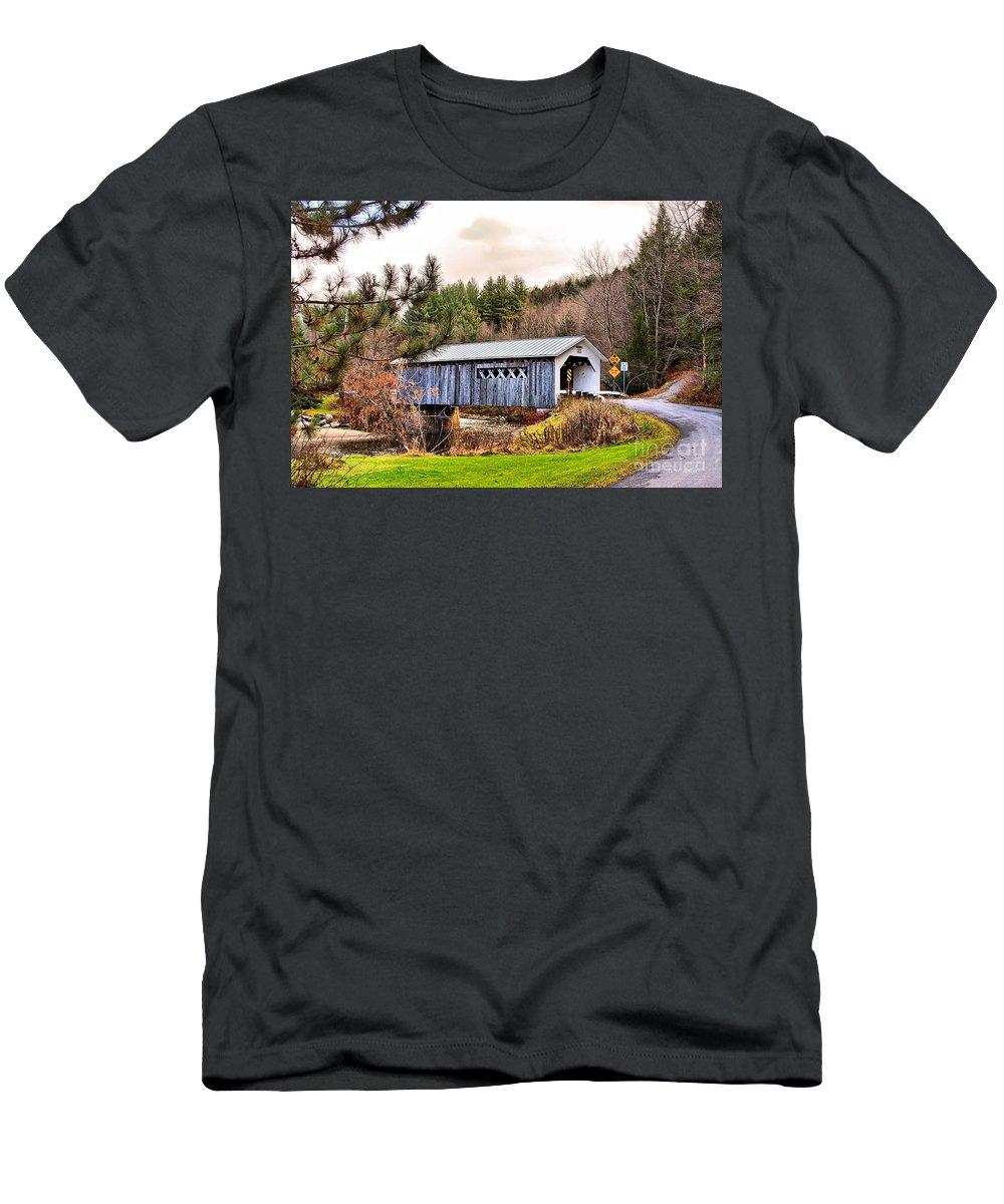 Bridge Men's T-Shirt (Athletic Fit) featuring the photograph Comstock Bridge Montgomery by Deborah Benoit