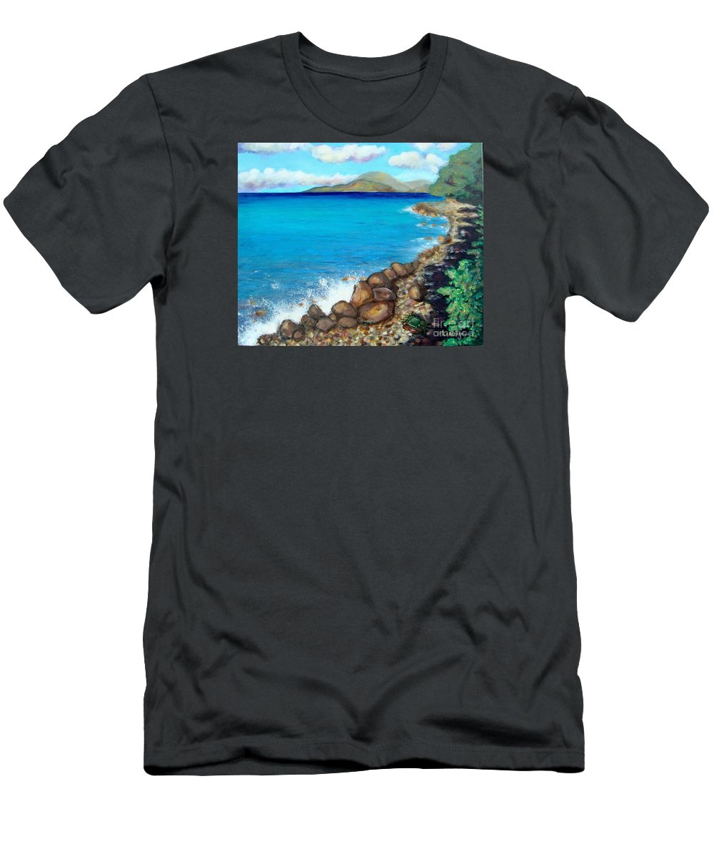 Water Men's T-Shirt (Athletic Fit) featuring the painting Concealed Crustacean by Laurie Morgan