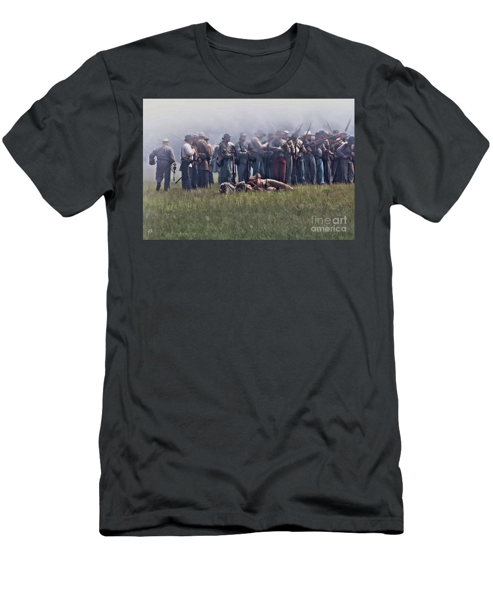 Union Men's T-Shirt (Athletic Fit) featuring the digital art Confederate Infantry Skirmish by Tommy Anderson