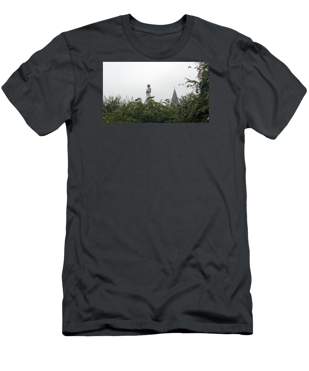 Statues Men's T-Shirt (Athletic Fit) featuring the photograph Confederate Soldier Standing Tall by Bill And Deb Hayes