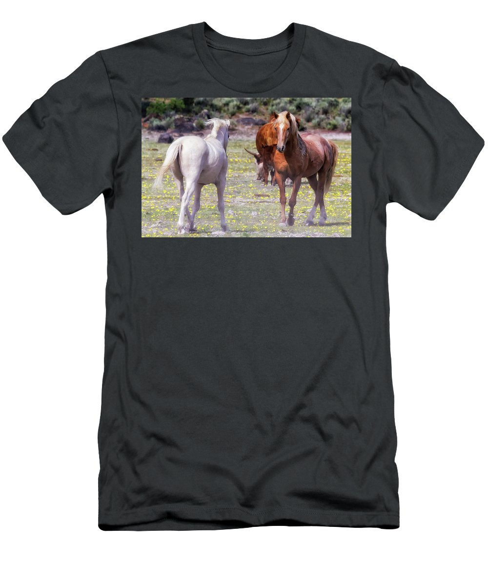 Wildhorses Men's T-Shirt (Athletic Fit) featuring the photograph Confrontation by Belinda Greb