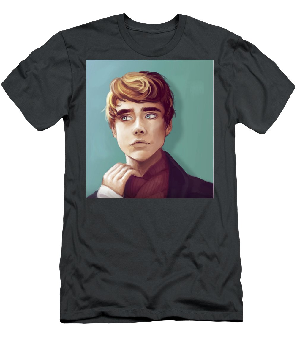 Krita Men's T-Shirt (Athletic Fit) featuring the digital art Confused And Scared by Alex Creighton