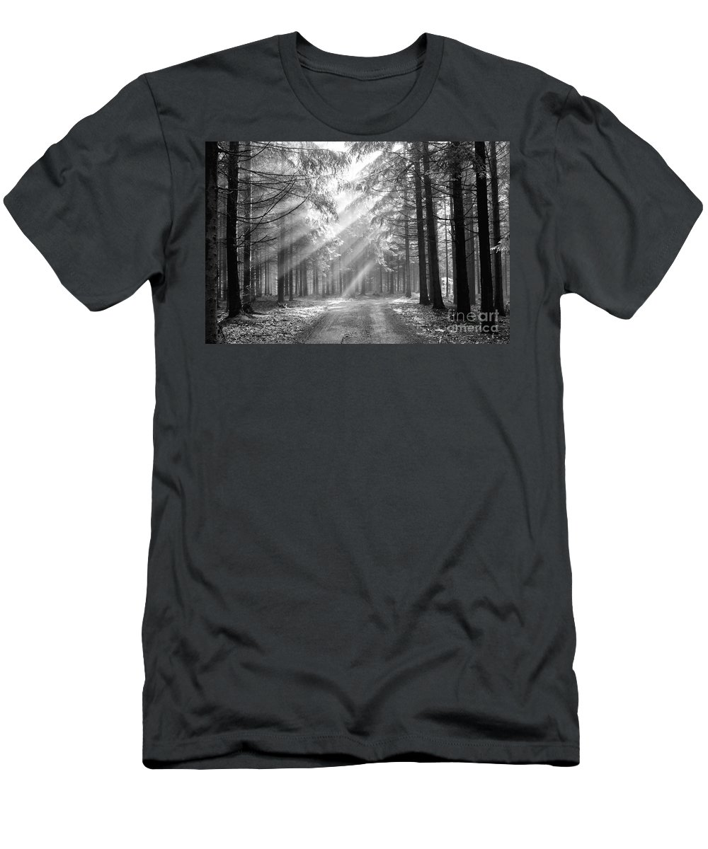 Black And White Men's T-Shirt (Athletic Fit) featuring the photograph Conifer Forest In Fog by Michal Boubin