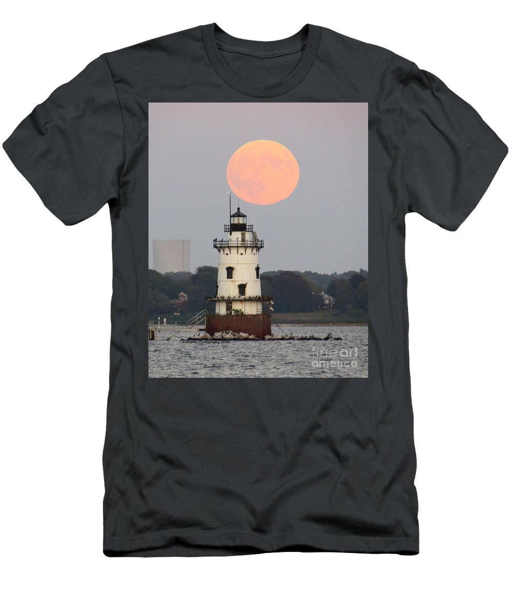 Men's T-Shirt (Athletic Fit) featuring the photograph Conimicut Moon 2 by Donna J Brooks