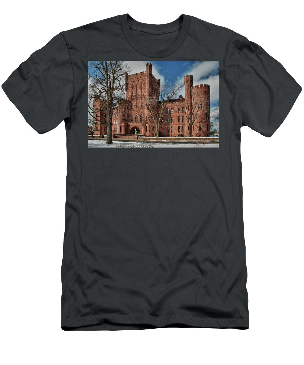 Armory Men's T-Shirt (Athletic Fit) featuring the photograph Connecticut Street Armory 3997a by Guy Whiteley