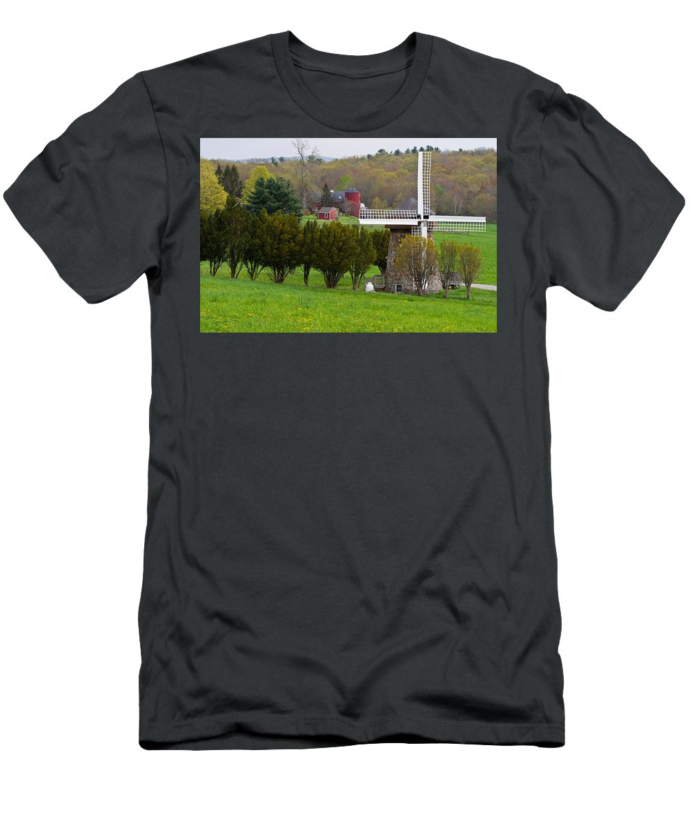Windmill Men's T-Shirt (Athletic Fit) featuring the photograph Connecticut Windmill. by David Freuthal