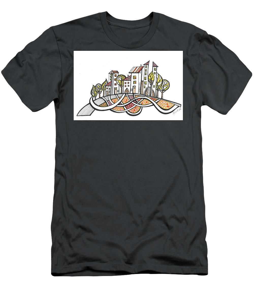 Houses Men's T-Shirt (Athletic Fit) featuring the drawing Connections by Aniko Hencz