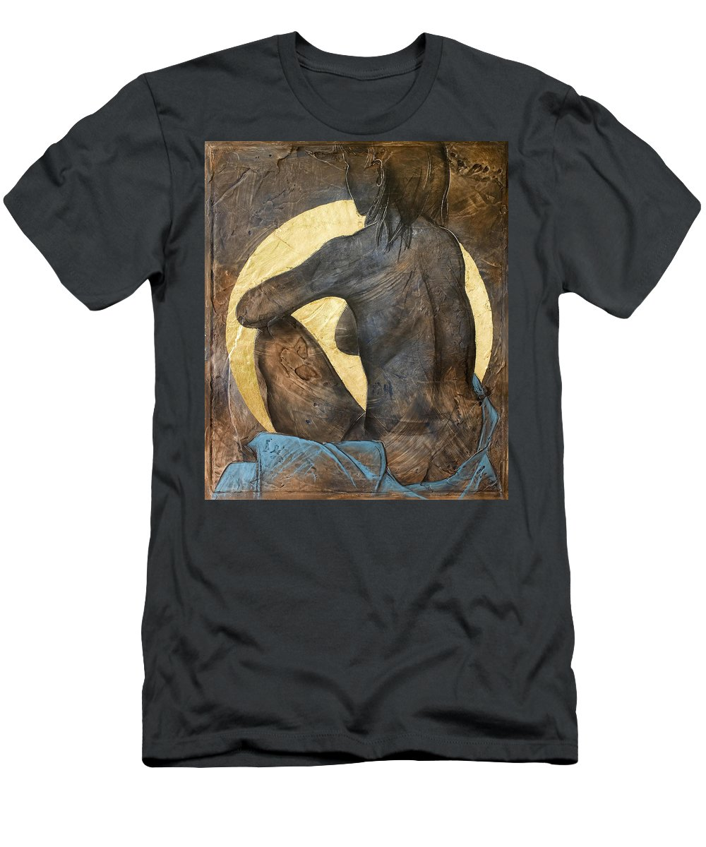 Nude Men's T-Shirt (Athletic Fit) featuring the painting Contemplation by Richard Hoedl