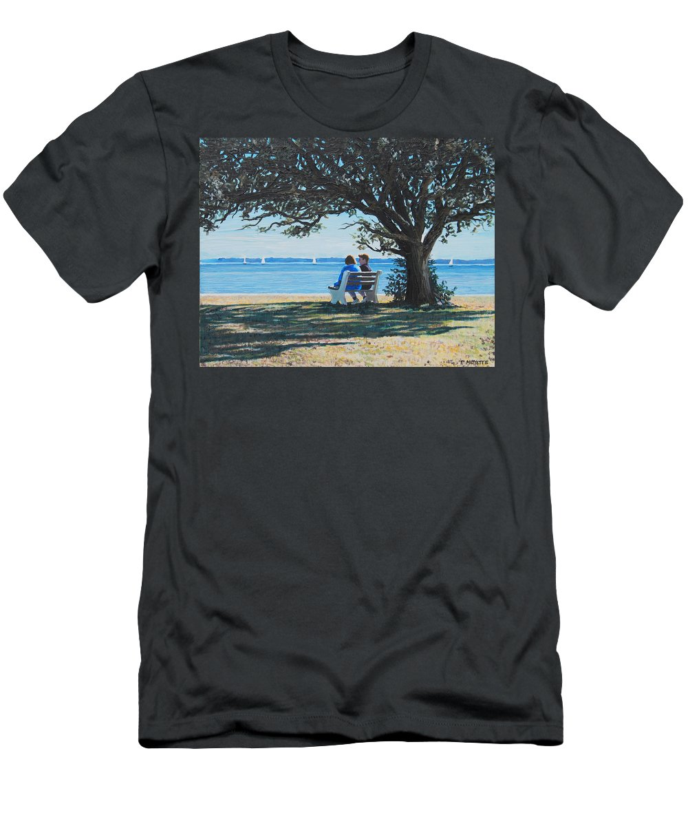 Parks Men's T-Shirt (Athletic Fit) featuring the painting Conversation In The Park by Tommy Midyette