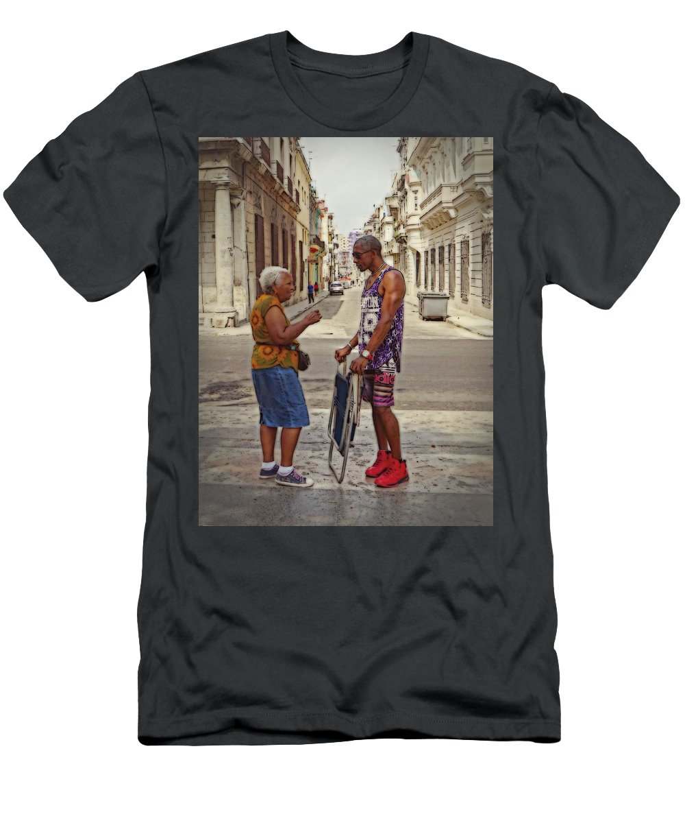 The Prado Men's T-Shirt (Athletic Fit) featuring the photograph Conversation On The Prado, Havana by Cheryl Kurman