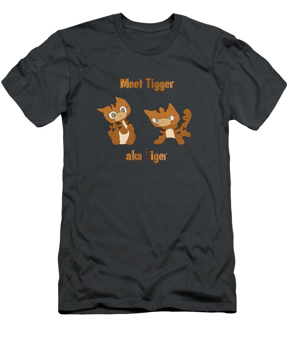 Cat Men's T-Shirt (Athletic Fit) featuring the digital art Cool Cat Design by Belinda Beeck