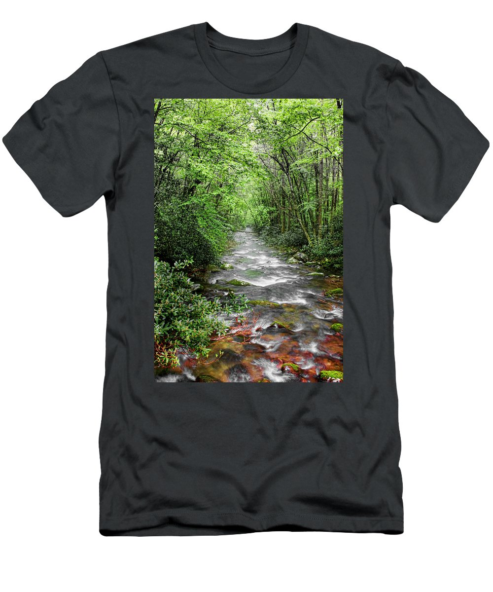 Water Green Stream Creek Flowing Water Park Nature Wild River Trees Forest Men's T-Shirt (Athletic Fit) featuring the photograph Cool Green Stream by Shari Jardina