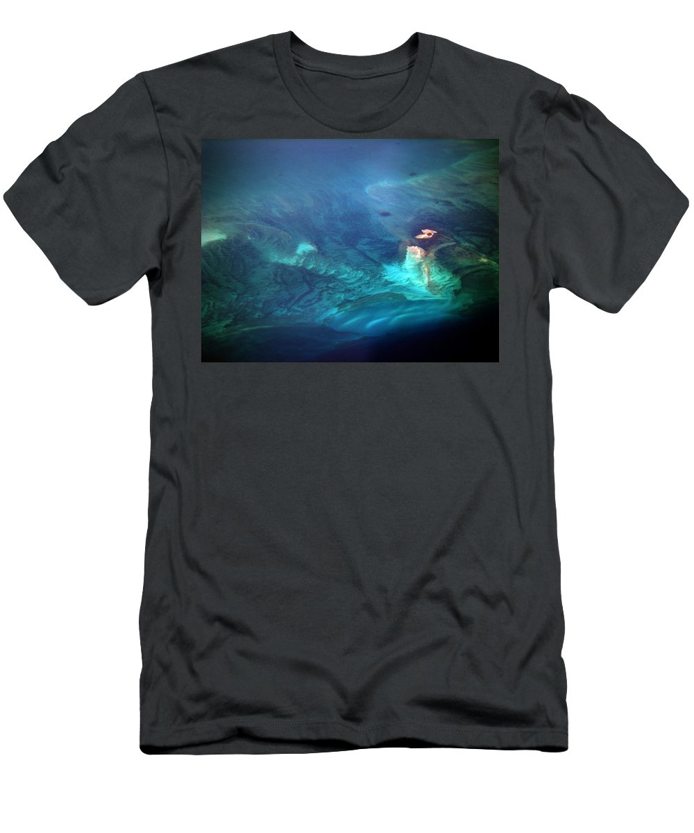 Coral Reef Photos Men's T-Shirt (Athletic Fit) featuring the photograph Coral Reef From 28000 Feet by Strato ThreeSIXTYFive