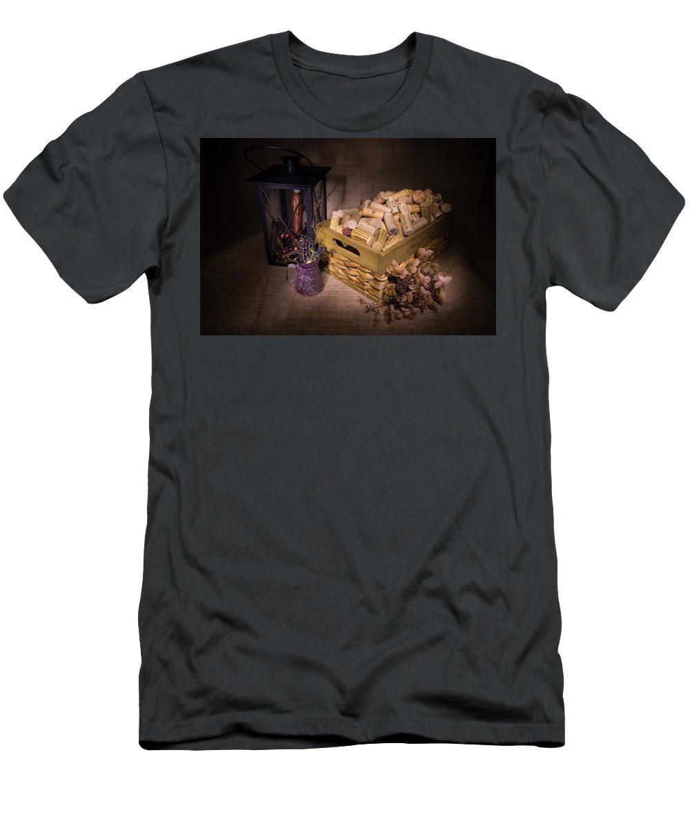 Cork Men's T-Shirt (Athletic Fit) featuring the photograph Cork Basket Candle Lamp by Douglas Barnett