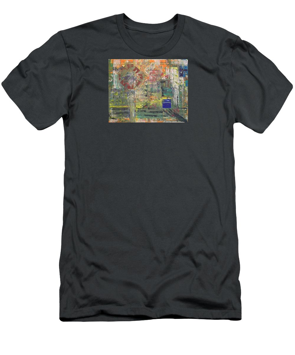 Abstract Painting Men's T-Shirt (Athletic Fit) featuring the painting Corner Deli by J R Seymour