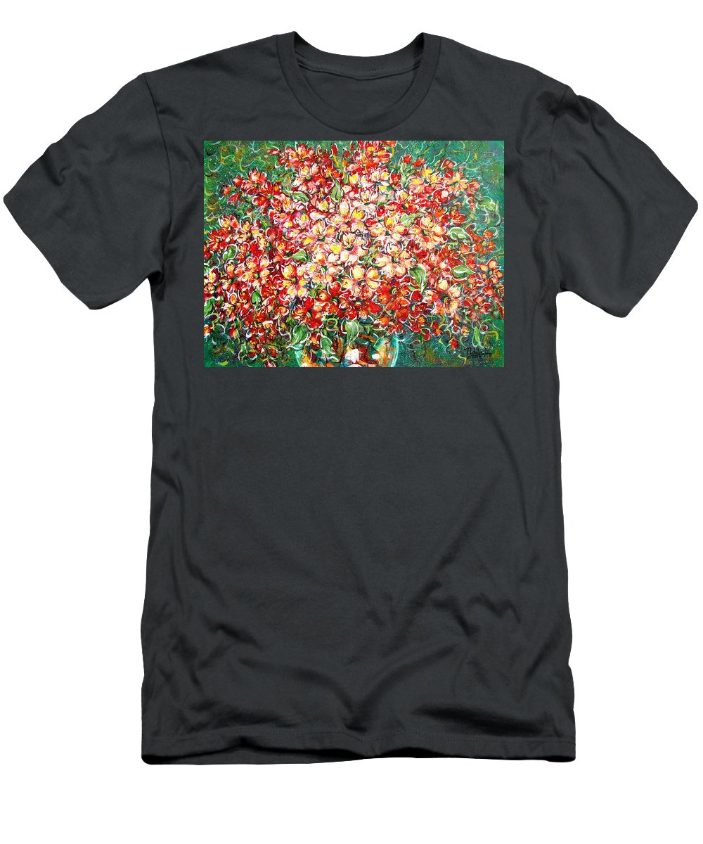 Flowers T-Shirt featuring the painting Cottage Garden Flowers by Natalie Holland