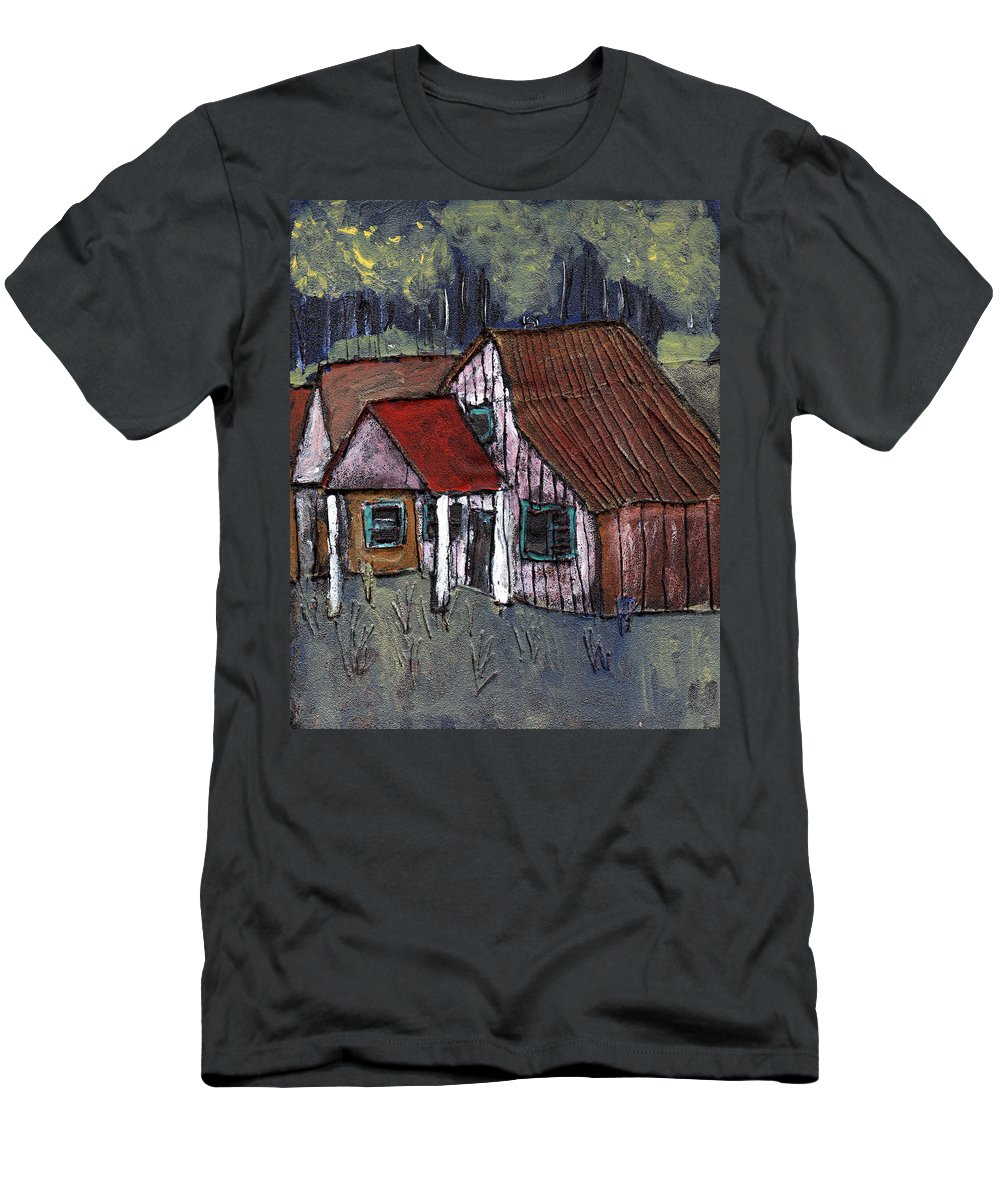 Cottage Men's T-Shirt (Athletic Fit) featuring the painting Cottage In The Woods by Wayne Potrafka