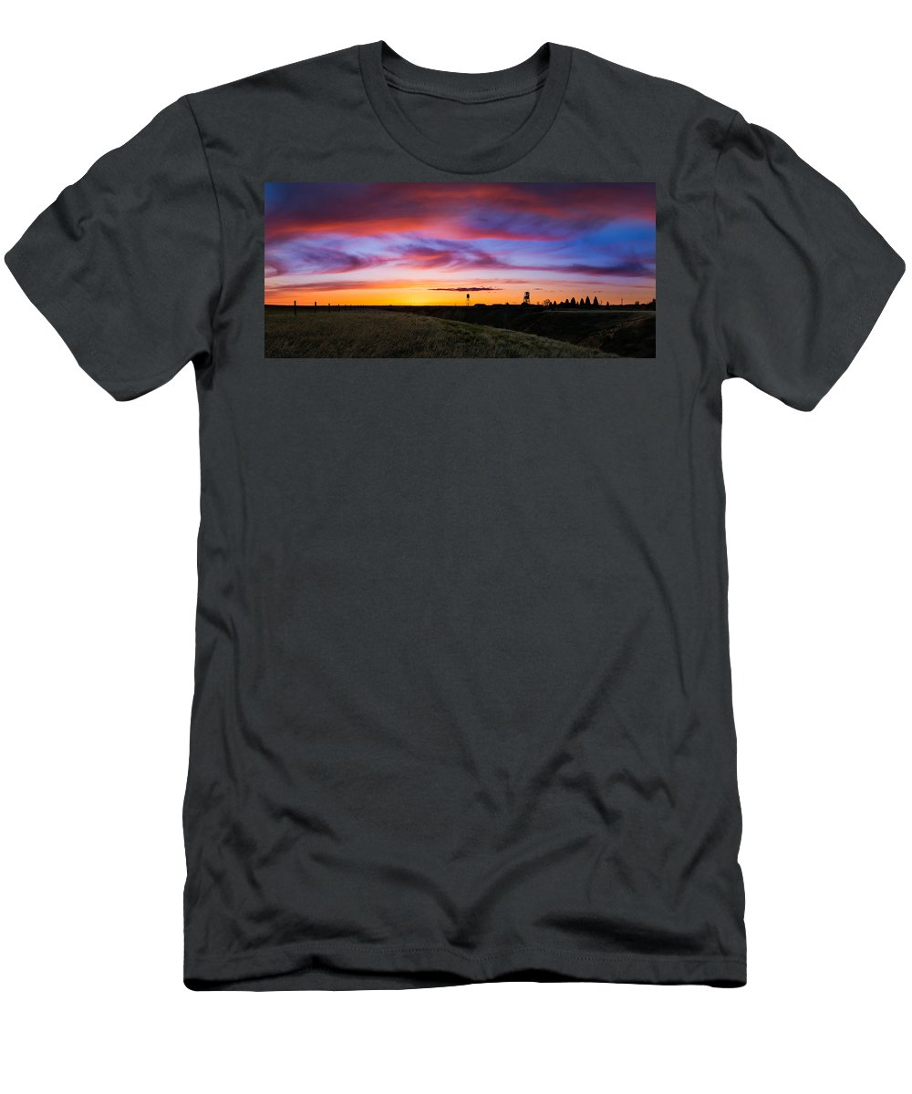 Sunrise Men's T-Shirt (Athletic Fit) featuring the photograph Cotton Candy Sunrise Over The Galt by Dwayne Schnell