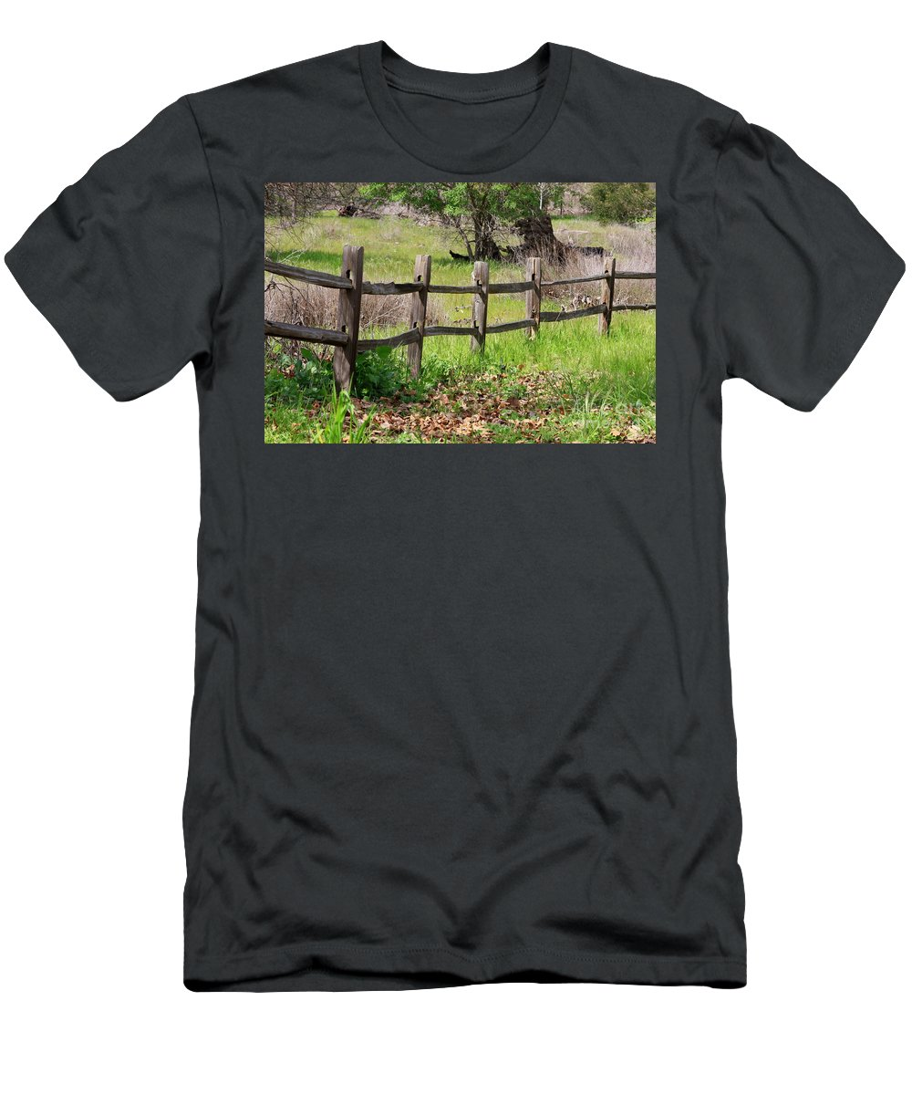 Country Fence Men's T-Shirt (Athletic Fit) featuring the photograph Country Fence by Carol Groenen