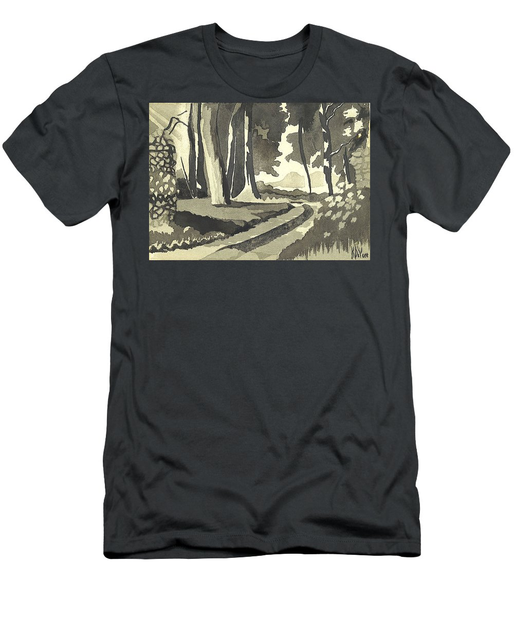 Rural Men's T-Shirt (Athletic Fit) featuring the painting Country Lane In Evening Shadow by Kip DeVore