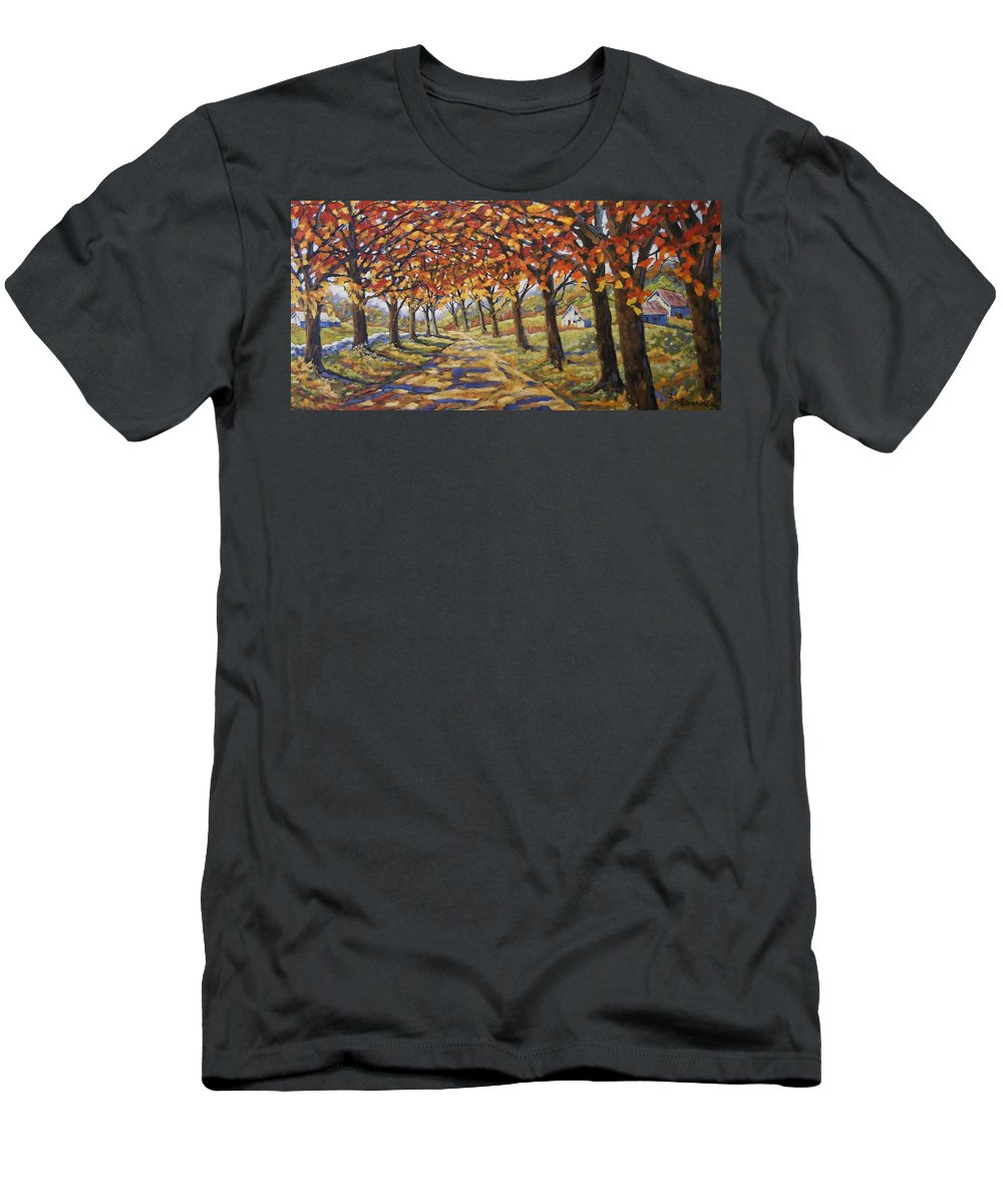 Art Men's T-Shirt (Athletic Fit) featuring the painting Country Road by Richard T Pranke