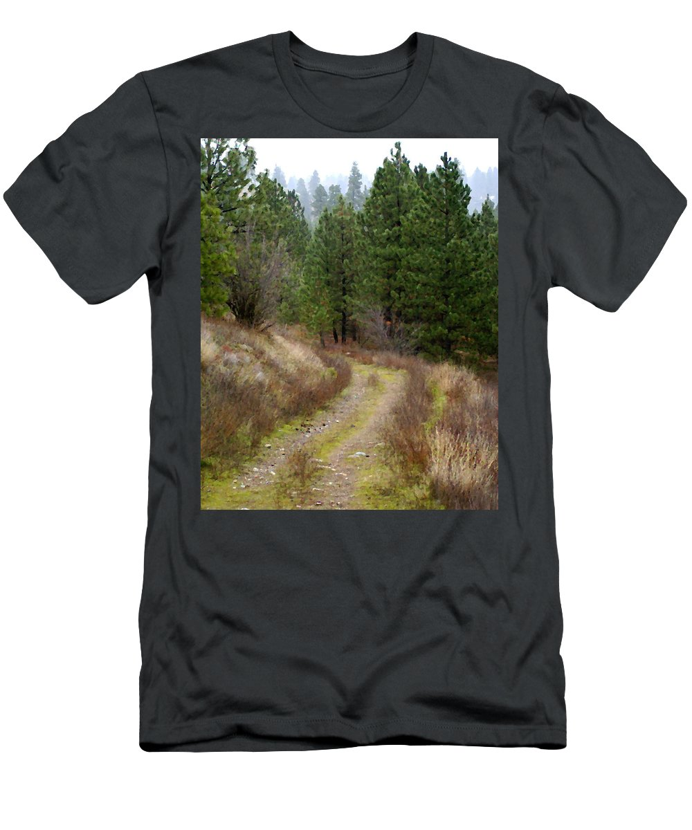 Country Road Men's T-Shirt (Athletic Fit) featuring the photograph Country Road Take Me Home by Ben Upham III