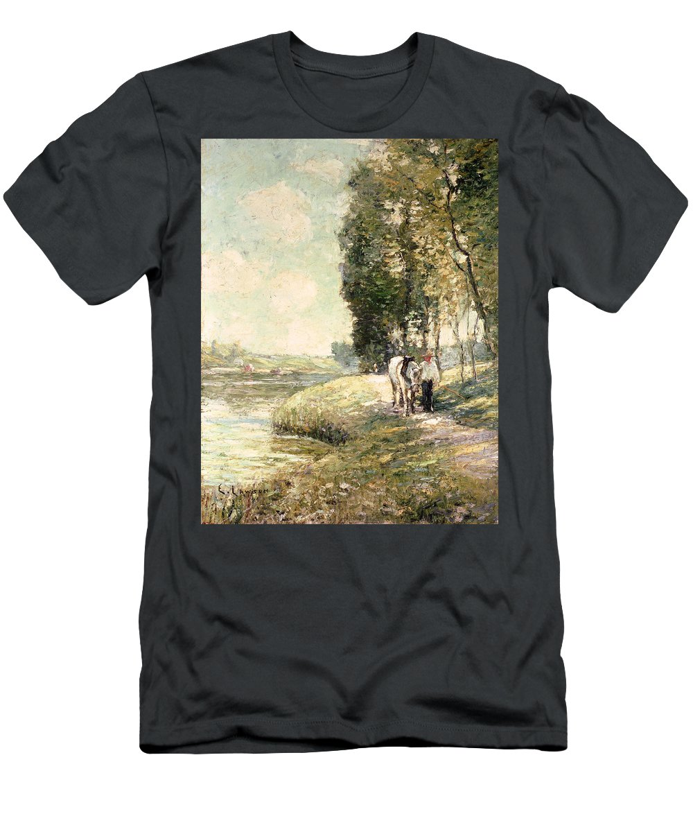 Country Road To Spuyten Men's T-Shirt (Athletic Fit) featuring the painting Country Road To Spuyten by Ernest Lawson