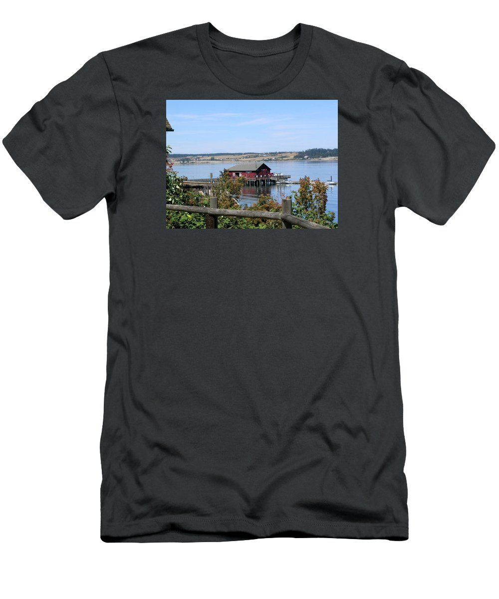 Coupeville Men's T-Shirt (Athletic Fit) featuring the photograph Coupeville Wharf II by Mary Gaines