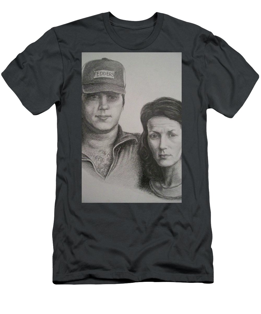 Couple Men's T-Shirt (Athletic Fit) featuring the drawing Couple Portrait 2 by Christopher Denham