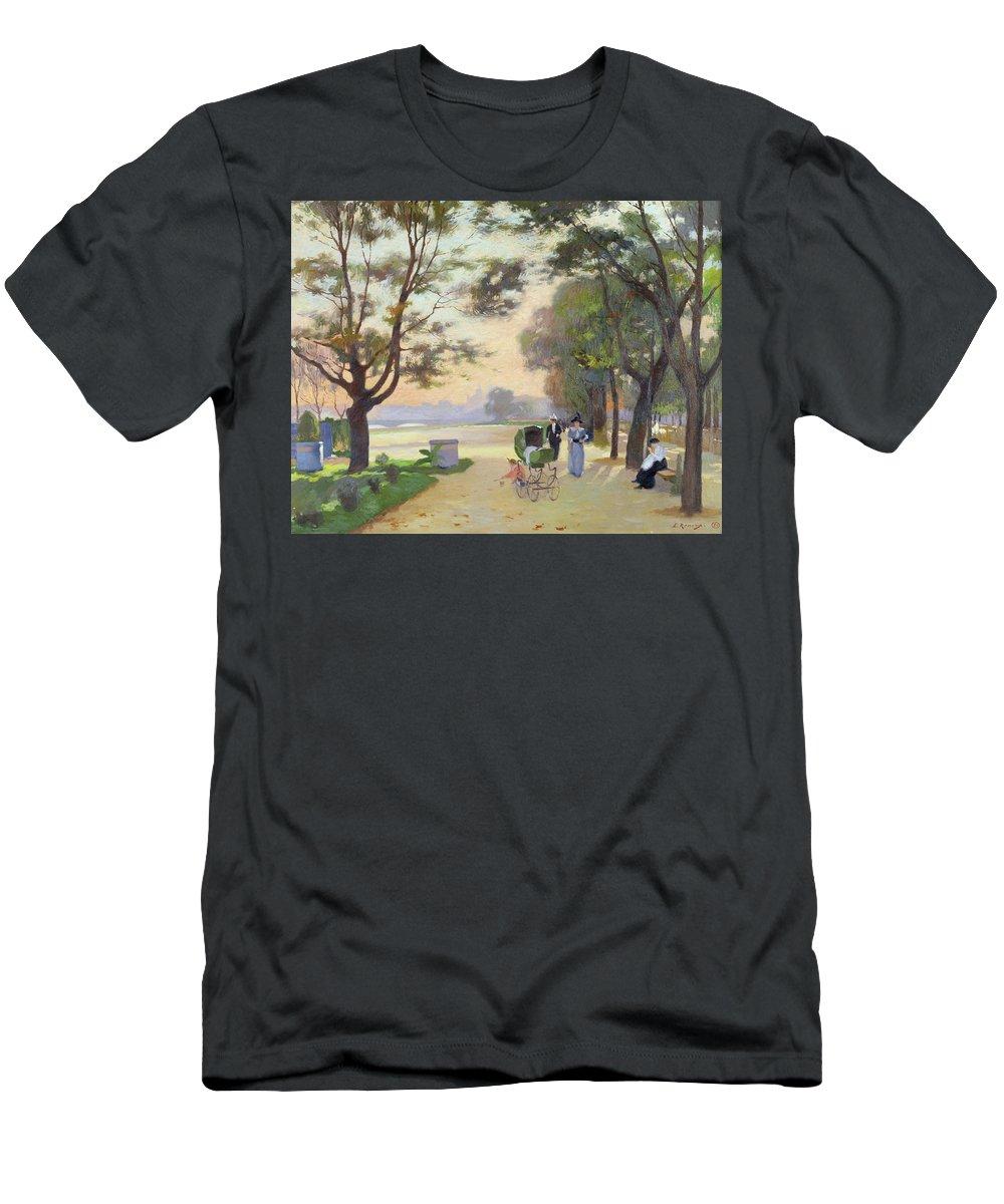 Cours-la-reine Men's T-Shirt (Athletic Fit) featuring the painting Cours La Reine Paris by Jules Ernest Renoux