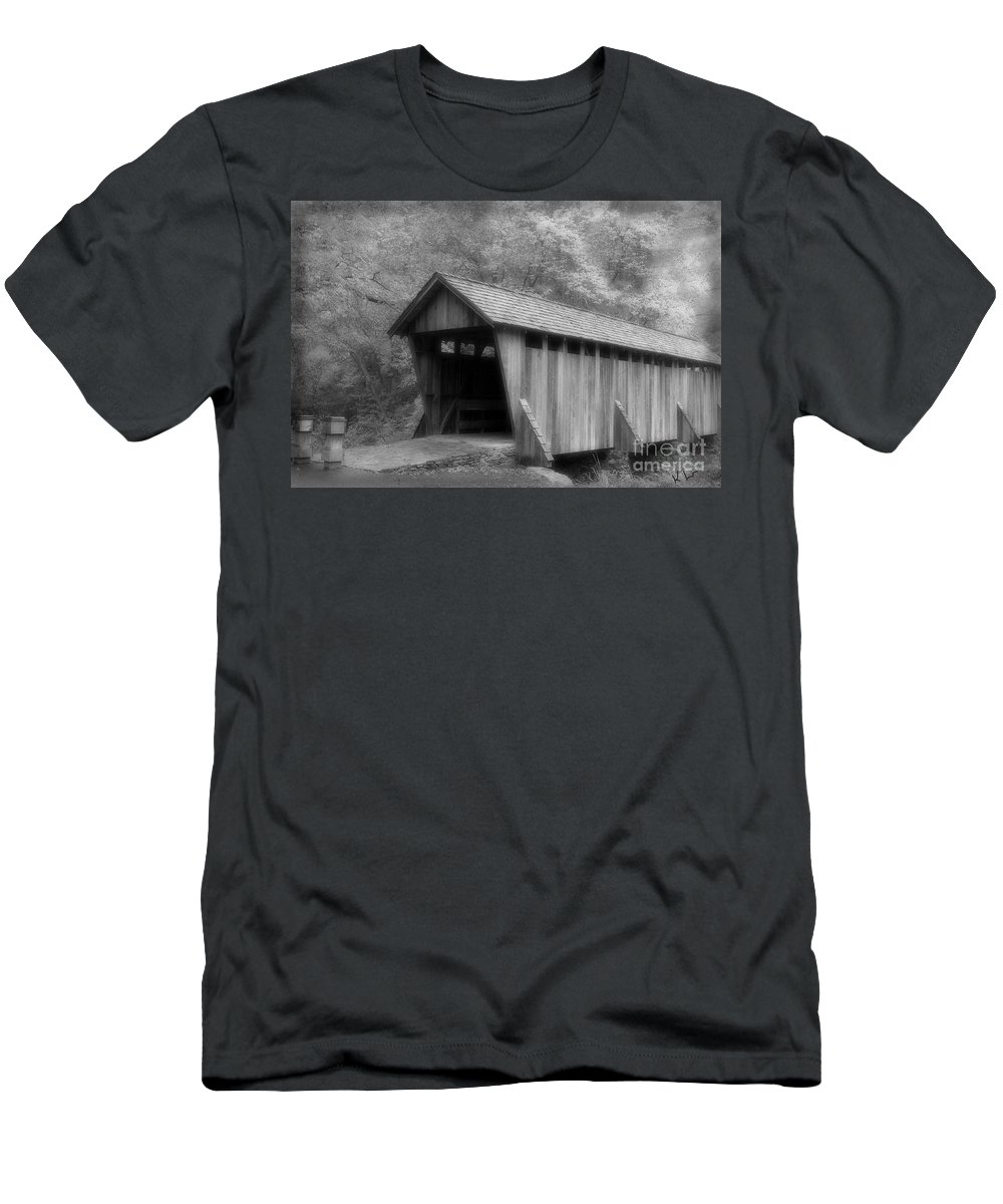Covered Bridge Men's T-Shirt (Athletic Fit) featuring the photograph Covered Bridge by Karol Livote