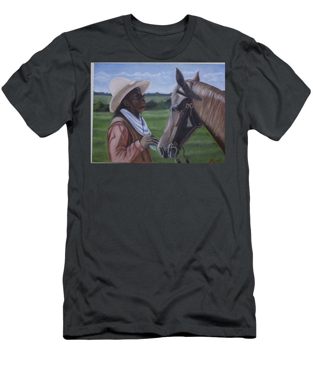 Portrait Men's T-Shirt (Athletic Fit) featuring the painting Cowboy2 by Toni Berry