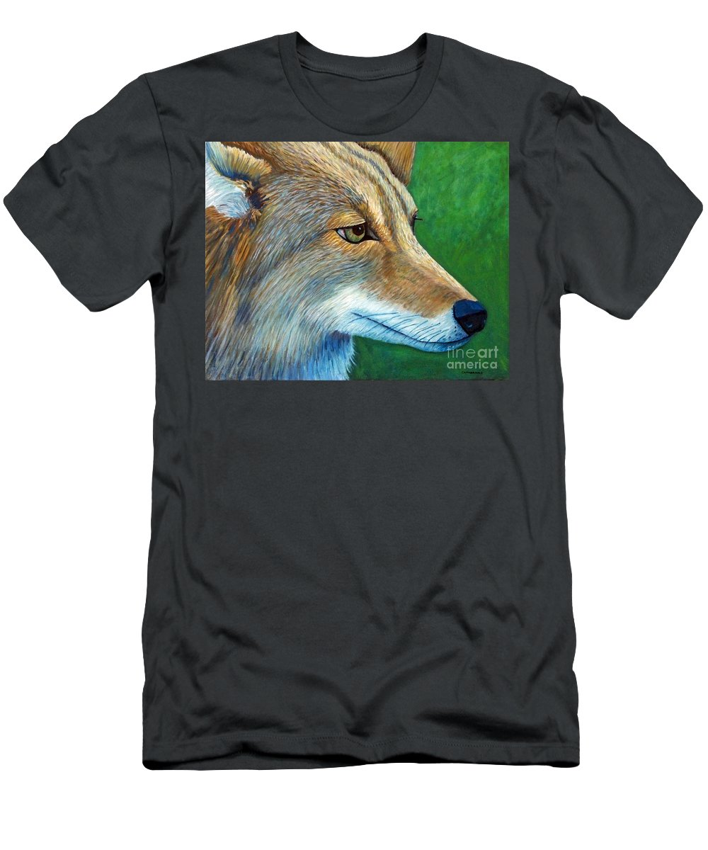 Coyote Men's T-Shirt (Athletic Fit) featuring the painting Coyote Logic by Brian Commerford