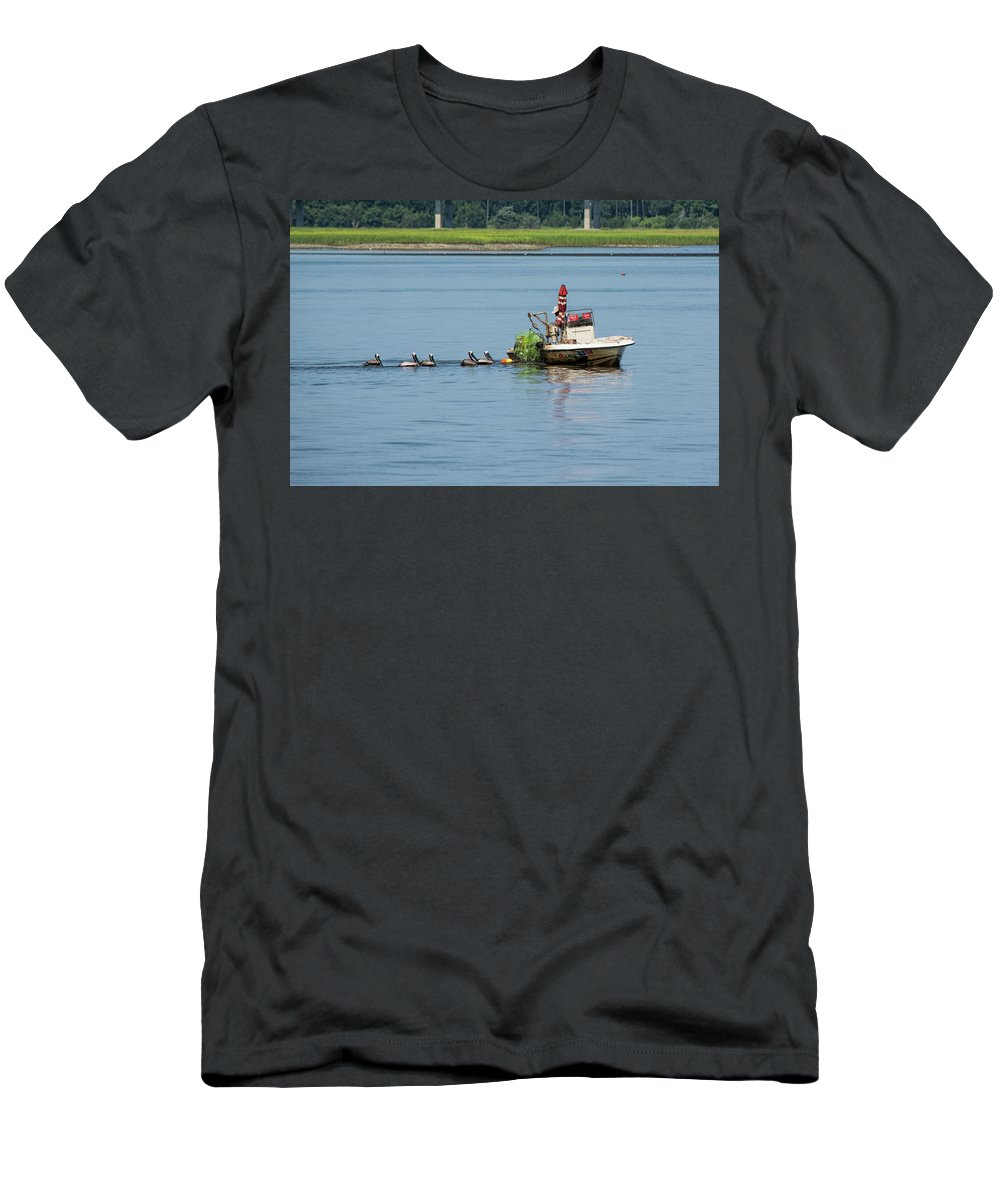 Crabber Men's T-Shirt (Athletic Fit) featuring the photograph Crab Catcher by Ed Waldrop