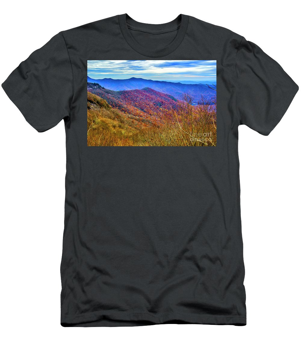 Autumn Leaves Men's T-Shirt (Athletic Fit) featuring the photograph Craggy Ridge by Roberta Bragan