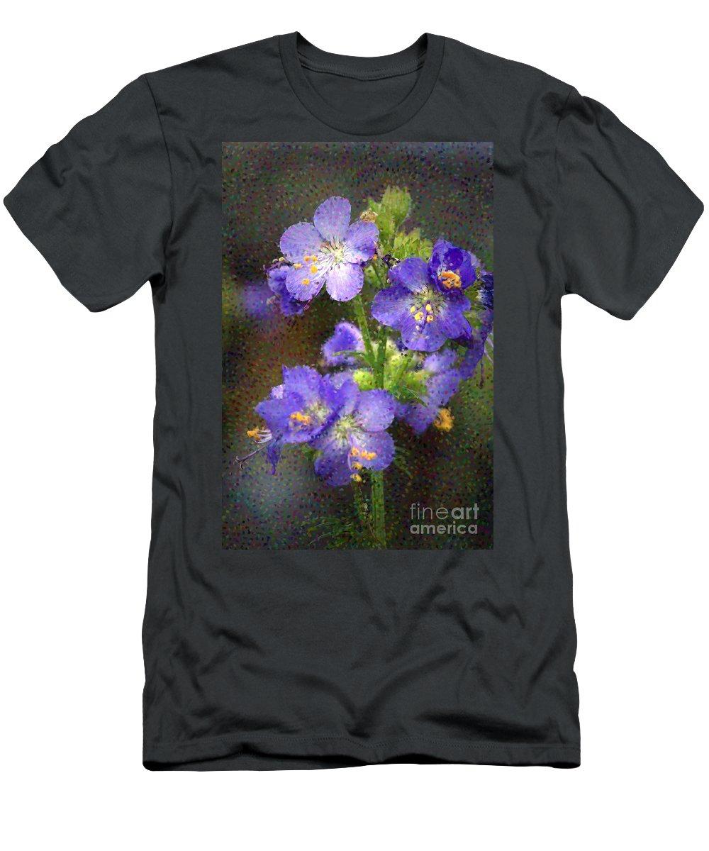 Flowers Men's T-Shirt (Athletic Fit) featuring the photograph Craquelure On Blue by Deborah Benoit