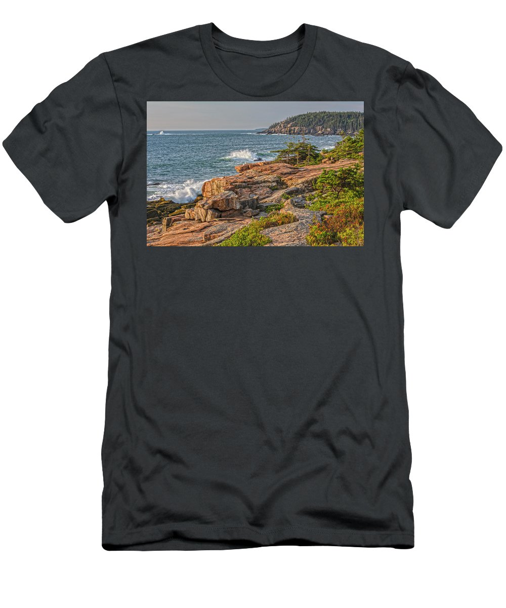 Seascapes Men's T-Shirt (Athletic Fit) featuring the photograph Crashing Waves At Otter Cliff by Angelo Marcialis
