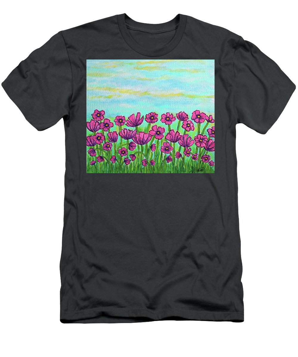Cosmos T-Shirt featuring the painting Crazy for Cosmos by Lisa Lorenz