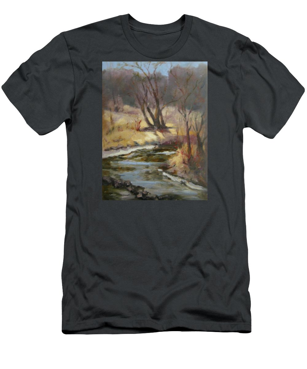 Plein Air Landscape Men's T-Shirt (Athletic Fit) featuring the painting Credit River by Patricia Kness