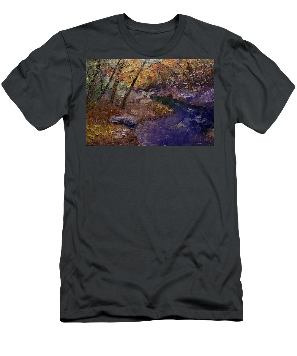 Landscape Men's T-Shirt (Athletic Fit) featuring the painting Creek Bank by Stephen King