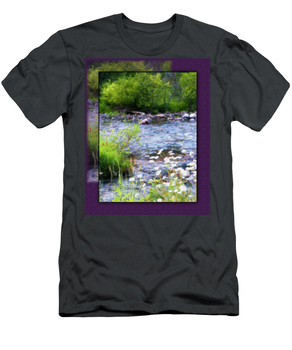 River Men's T-Shirt (Athletic Fit) featuring the photograph Creek Daisys by Susan Kinney