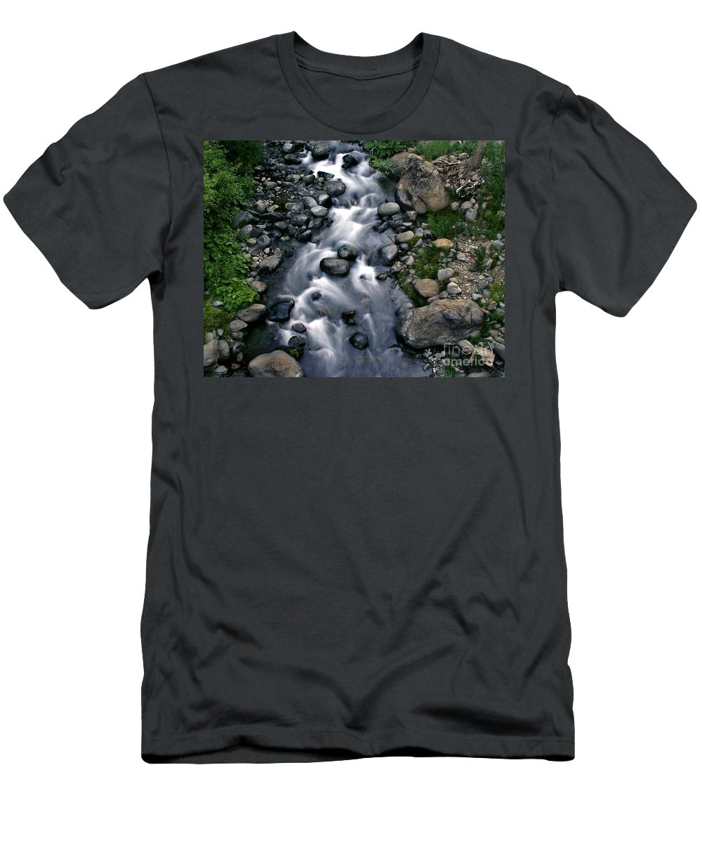 Creek Men's T-Shirt (Athletic Fit) featuring the photograph Creek Flow by Peter Piatt